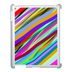 Multi Color Tangled Ribbons Background Wallpaper Apple Ipad 3/4 Case (white)