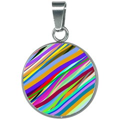 Multi Color Tangled Ribbons Background Wallpaper 20mm Round Necklace