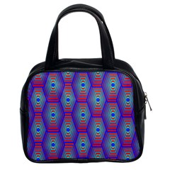 Red Blue Bee Hive Pattern Classic Handbag (two Sides) by Jojostore