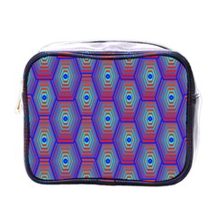Red Blue Bee Hive Pattern Mini Toiletries Bag (one Side)