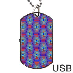 Red Blue Bee Hive Pattern Dog Tag Usb Flash (two Sides) by Jojostore