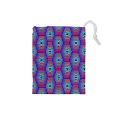 Red Blue Bee Hive Pattern Drawstring Pouch (small)