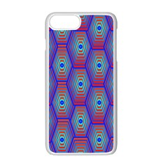 Red Blue Bee Hive Pattern Apple Iphone 7 Plus Seamless Case (white)