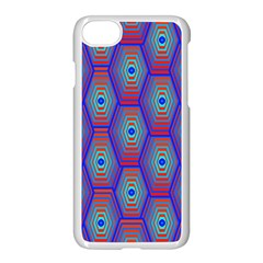 Red Blue Bee Hive Pattern Apple Iphone 8 Seamless Case (white) by Jojostore