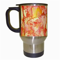 Monotype Art Pattern Leaves Colored Autumn Travel Mugs (white) by Jojostore