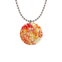 Monotype Art Pattern Leaves Colored Autumn 1  Button Necklace