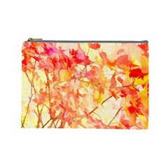 Monotype Art Pattern Leaves Colored Autumn Cosmetic Bag (large)