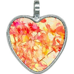 Monotype Art Pattern Leaves Colored Autumn Heart Necklace