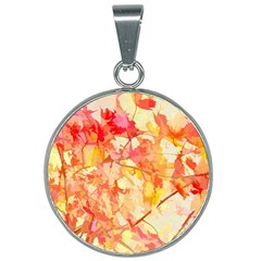 Monotype Art Pattern Leaves Colored Autumn 25mm Round Necklace