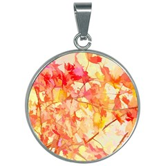 Monotype Art Pattern Leaves Colored Autumn 30mm Round Necklace