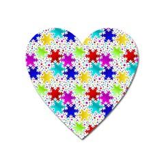 Snowflake Pattern Repeated Heart Magnet