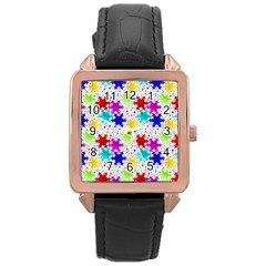 Snowflake Pattern Repeated Rose Gold Leather Watch