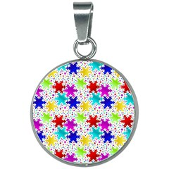 Snowflake Pattern Repeated 20mm Round Necklace