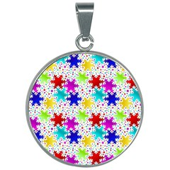 Snowflake Pattern Repeated 30mm Round Necklace