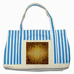 Yellow And Black Stained Glass Effect Striped Blue Tote Bag by Jojostore