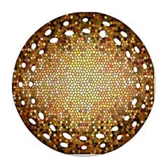 Yellow And Black Stained Glass Effect Ornament (round Filigree)