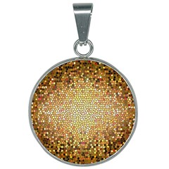 Yellow And Black Stained Glass Effect 25mm Round Necklace
