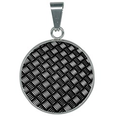 Abstract Of Metal Plate With Lines 25mm Round Necklace