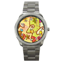 Abstract Faces Abstract Spiral Sport Metal Watch