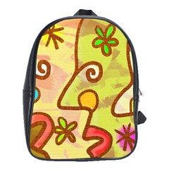 Abstract Faces Abstract Spiral School Bag (large)