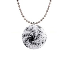 Fractal Black Spiral On White 1  Button Necklace