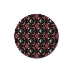 Abstract Black And Red Pattern Magnet 3  (round)