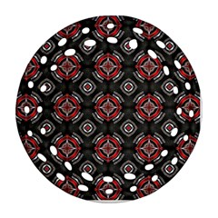 Abstract Black And Red Pattern Ornament (round Filigree) by Jojostore