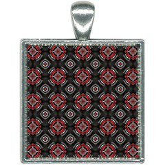 Abstract Black And Red Pattern Square Necklace by Jojostore