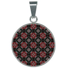 Abstract Black And Red Pattern 25mm Round Necklace