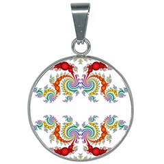 Fractal Kaleidoscope Of A Dragon Head 25mm Round Necklace