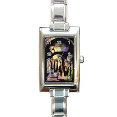 Street Colorful Abstract People Rectangle Italian Charm Watch by Jojostore