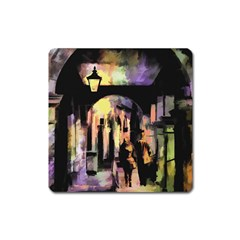 Street Colorful Abstract People Square Magnet