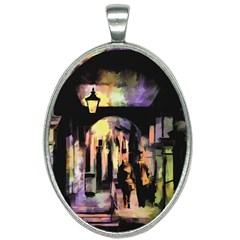 Street Colorful Abstract People Oval Necklace