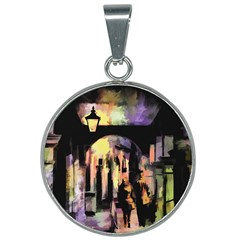 Street Colorful Abstract People 25mm Round Necklace by Jojostore