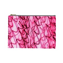 An Unusual Background Photo Of Black Swirls On Pink And Magenta Cosmetic Bag (large) by Jojostore