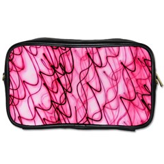 An Unusual Background Photo Of Black Swirls On Pink And Magenta Toiletries Bag (one Side) by Jojostore