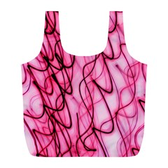 An Unusual Background Photo Of Black Swirls On Pink And Magenta Full Print Recycle Bag (l) by Jojostore