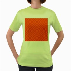 Seamless Pattern Design Tiling Women s Green T Shirt