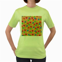 Seamless Tile Background Abstract Women s Green T Shirt