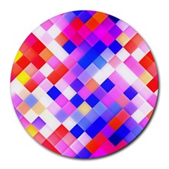Squares Pattern Geometric Seamless Round Mousepads