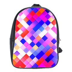 Squares Pattern Geometric Seamless School Bag (large) by Sapixe