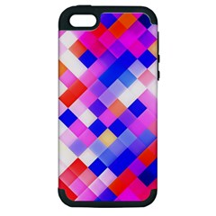 Squares Pattern Geometric Seamless Apple Iphone 5 Hardshell Case (pc+silicone)