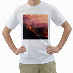 Volcanoes Magma Lava Mountains Men s T Shirt (white) (two Sided) by Sapixe