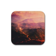 Volcanoes Magma Lava Mountains Rubber Square Coaster (4 Pack)  by Sapixe