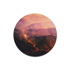 Volcanoes Magma Lava Mountains Rubber Coaster (round)  by Sapixe