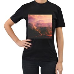 Volcanoes Magma Lava Mountains Women s T Shirt (black) (two Sided) by Sapixe