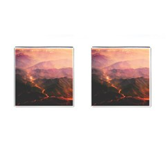 Volcanoes Magma Lava Mountains Cufflinks (square) by Sapixe