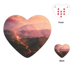 Volcanoes Magma Lava Mountains Playing Cards (heart) by Sapixe
