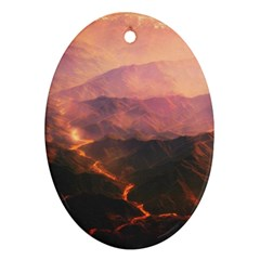 Volcanoes Magma Lava Mountains Oval Ornament (two Sides) by Sapixe