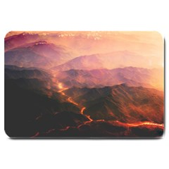 Volcanoes Magma Lava Mountains Large Doormat  by Sapixe